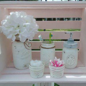 Distressed Mason Jar Bathroom, kitchen or desk set